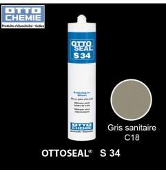 OTTOSEAL S34 mastic silicone spécial joints de sol gris sanitaire