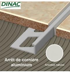 Arrêt de cornière aluminium anodisé naturel 8 mm