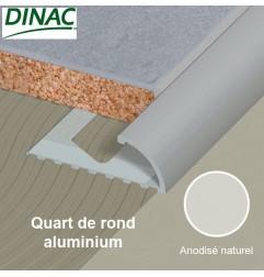 Quart de rond ouvert aluminium anodisé naturel 6 mm