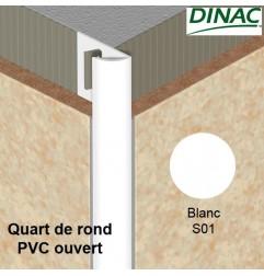Quart de rond ouvert PVC blanc 8 mm