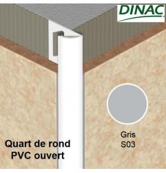 Quart de rond ouvert PVC gris 6 mm