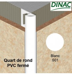 Quart de rond fermé PVC blanc 10 mm