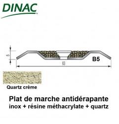 Plat de marche antidérapant B5 inox + quartz crème