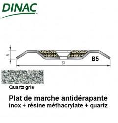 Plat de marche antidérapant B5 inox + quartz gris