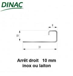Arrêt droit inox brillant 10 mm
