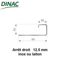 Arrêt droit inox brillant 12.5 mm