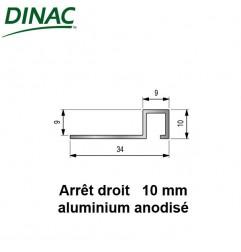 Arrêt droit aluminium anodisé brillant brossé 10 mm
