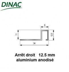 Arrêt droit aluminium anodisé naturel 12.5 mm