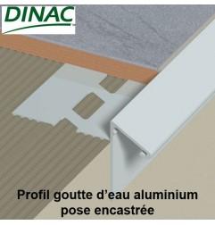 Profil aluminium goutte d'eau pose encastrée 12.5 mm