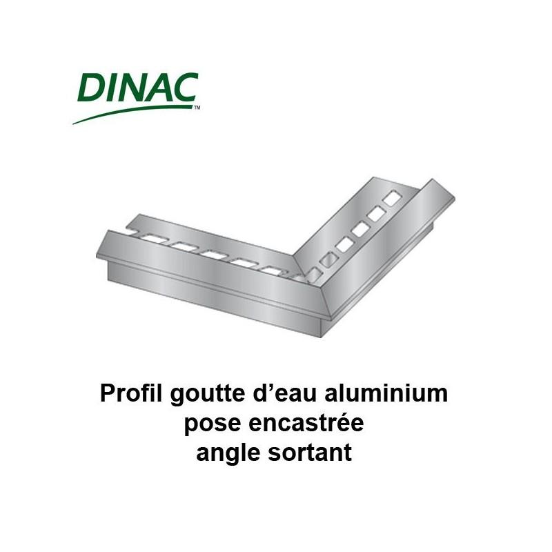 Angle sortant pour profil aluminium goutte d'eau pose encastrée 10 mm