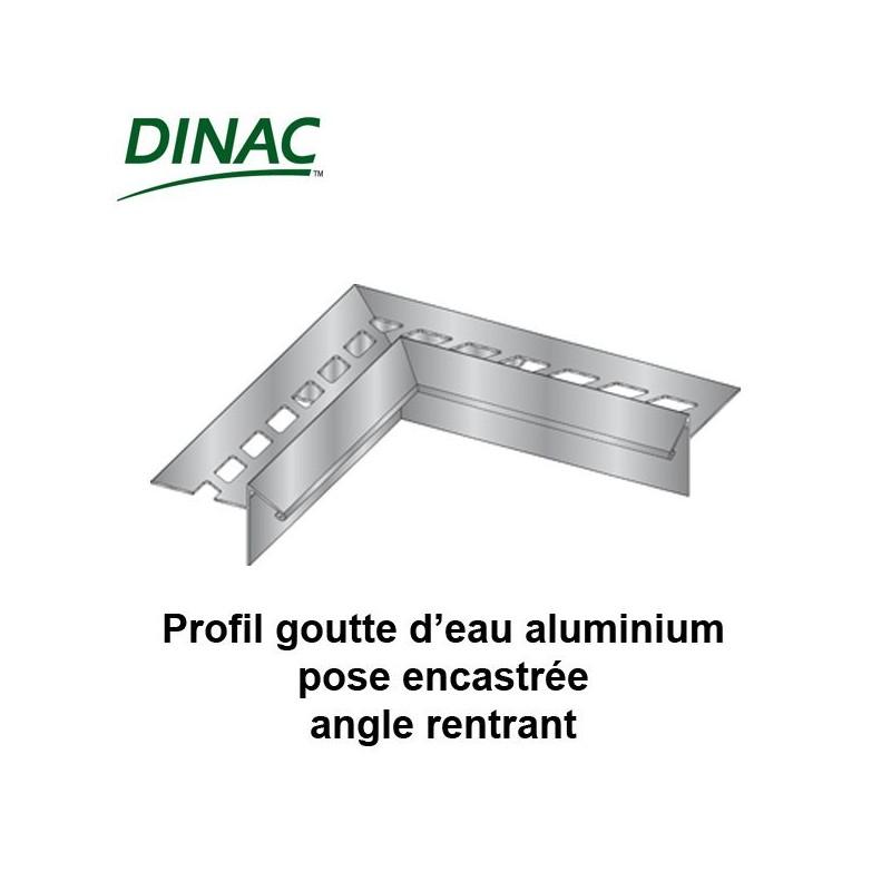 Angle rentrant pour profil aluminium goutte d'eau pose encastrée 12.5 mm