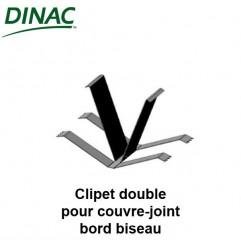 Clipet double inox pour couvre-joint à bords biseautés