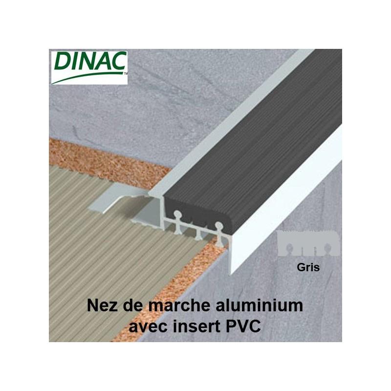 Nez de marche aluminium brut avec insert PVC gris 10 mm