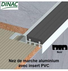 Nez de marche aluminium brut avec insert PVC noir 12.5 mm