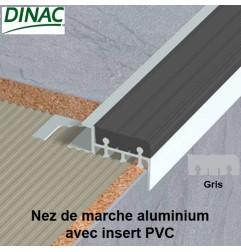 Nez de marche aluminium brut avec insert PVC gris 12.5 mm