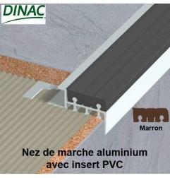 Nez de marche aluminium brut avec insert PVC marron 12.5 mm