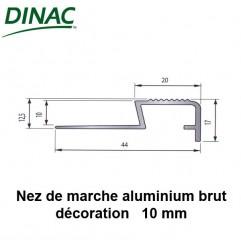 Nez de marche décoration aluminium brut 10 mm