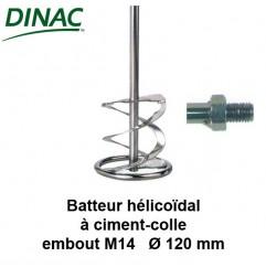 Batteur hélicoïdal pour ciment-colle Ø 120 mm. Embout M14