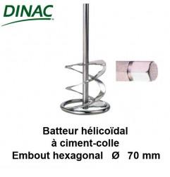 Batteur hélicoïdal pour ciment-colle Ø 70 mm. Embout hexagonal