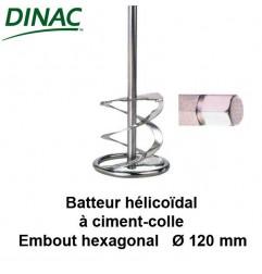Batteur hélicoïdal pour ciment-colle Ø 120 mm. Embout hexagonal