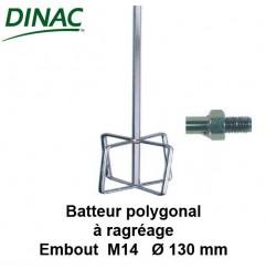 Batteur polygonal pour ragréage Ø 130 mm. Embout M14