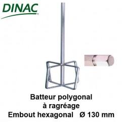 Batteur polygonal pour ragréage Ø 130 mm. Embout hexagonal