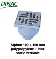 Siphon polypropylène grille inox 100 x 100 sortie verticale