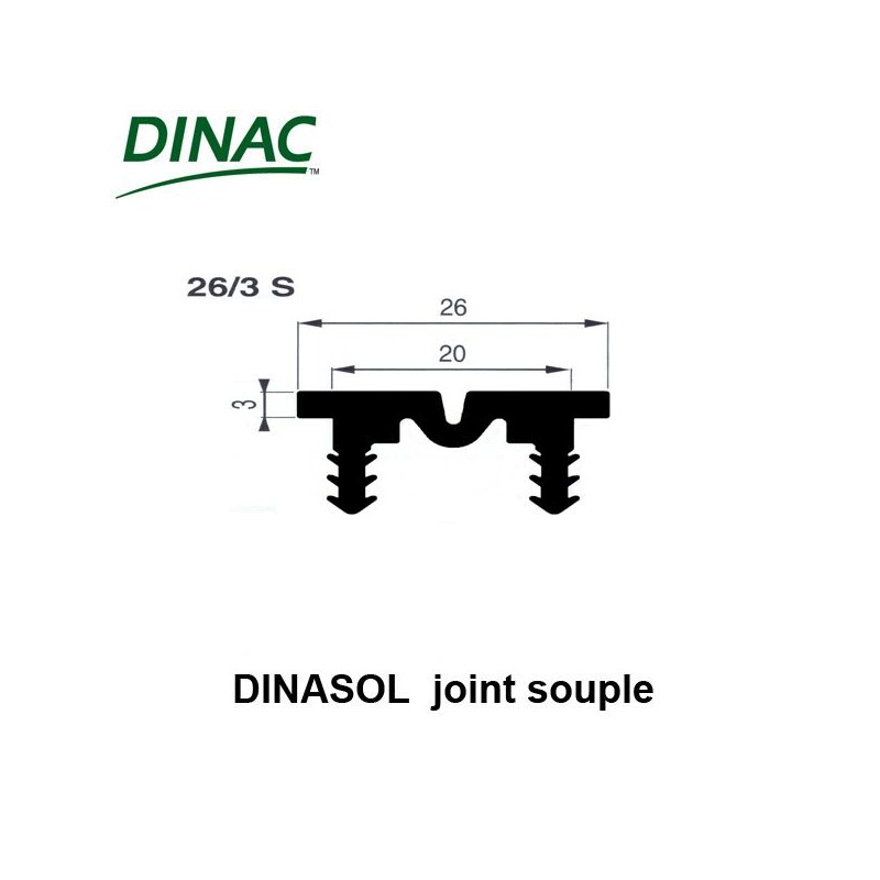 Dinasol 26/3 S joint souple 26 mm noir strié ressaut 3 mm