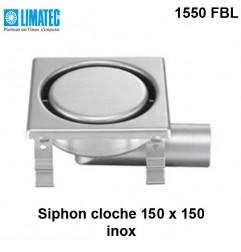 1550 FBL Siphon cloche inox 150 x 150 surbaissé