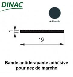 Bande antidérapante adhésive anthracite 19 mm pour nez de marche 6B