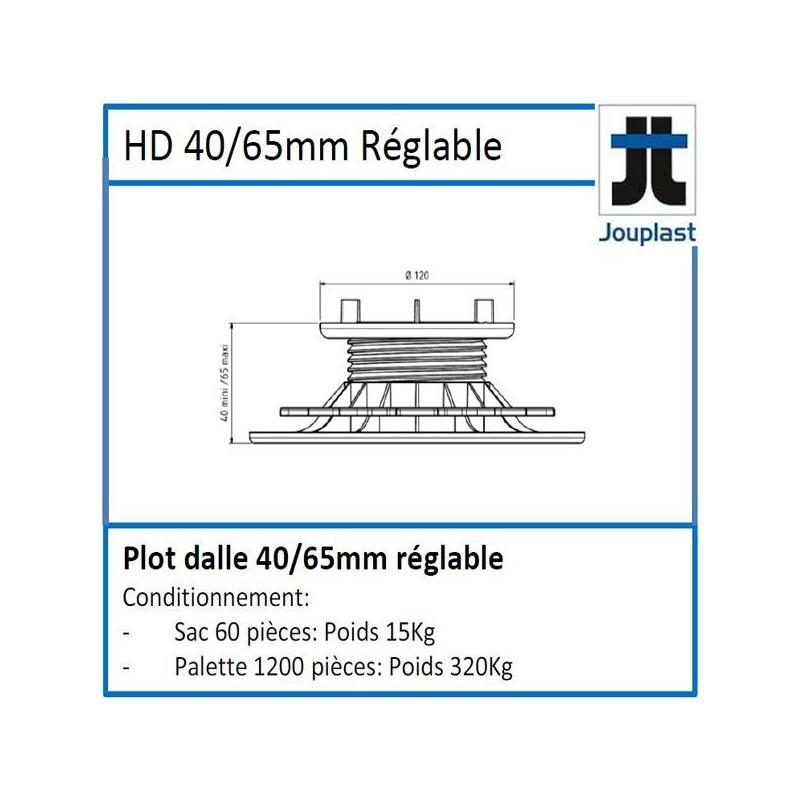 Plot DH40 hauteur réglable de 40 à 65 mm pour dalle