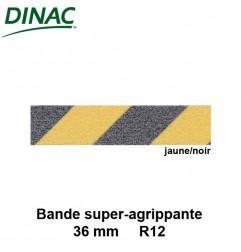 Bande super agrippante adhésive jaune/noir 36 mm