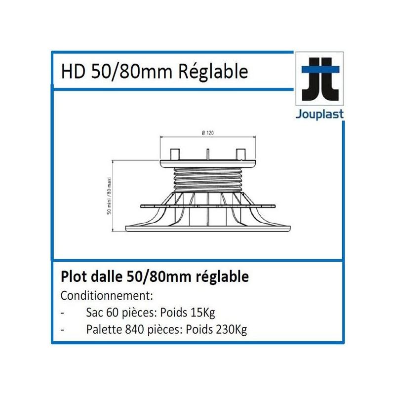 Plot DH50 hauteur réglable de 50 à 80 mm pour dalle