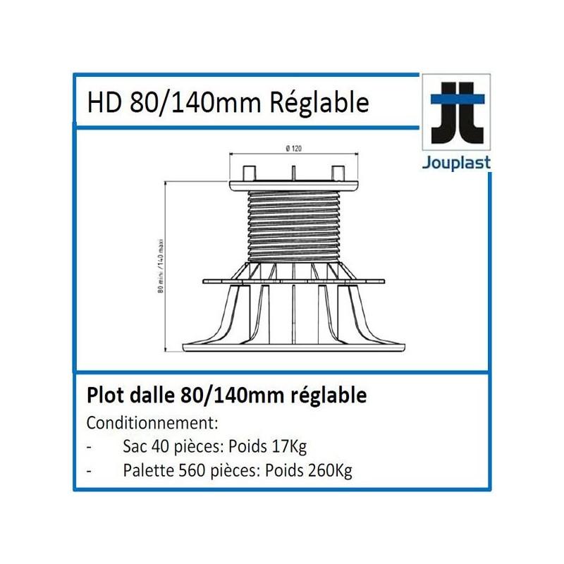 Plot DH80 hauteur réglable de 80 à 140 mm pour dalle