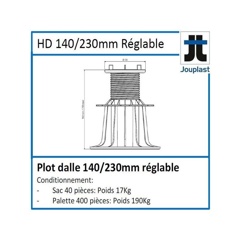 Plot DH140 hauteur réglable de 140 à 230 mm pour dalle