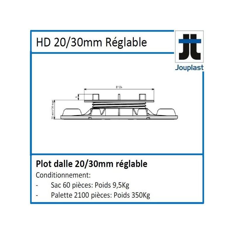 Plot DH20 hauteur réglable de 20 à 30 mm pour dalle