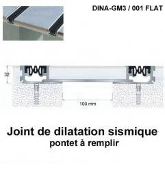 Joint de dilatation sismique DINA-GM3 /001 Flat pose encastrée. Hauteur 32 mm. Ouverture du joint 100 mm