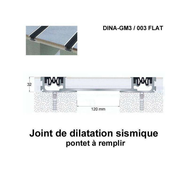 Joint de dilatation sismique DINA-GM3 /003 Flat pose encastrée. Hauteur 32 mm. Ouverture du joint 120 mm