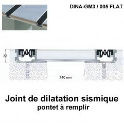 Joint de dilatation sismique DINA-GM3 /005 Flat pose encastrée. Hauteur 32 mm. Ouverture du joint 140 mm
