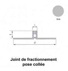 Joint de fractionnement étroit PVC gris pour pose collée, ailettes larges. Hauteur 8 mm