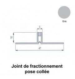 Joint de fractionnement étroit PVC gris pour pose collée, ailettes larges. Hauteur 10 mm