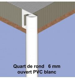Quart de rond ouvert PVC blanc 6 mm économique