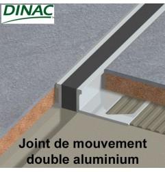 Joint de mouvement double MJ-AL aluminium, joint noir. Hauteur 3 mm