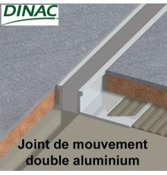 Joint de mouvement double MJ-AL aluminium, joint gris. Hauteur 8 mm