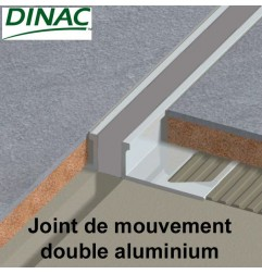 Joint de mouvement double MJ-AL aluminium, joint gris. Hauteur 15 mm