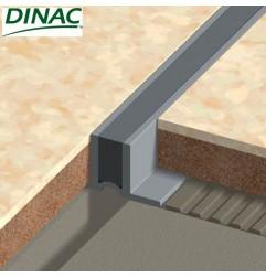 Joint de fractionnement PVC gris pour pose collée, ailettes étroites. Hauteur 12.5 mm