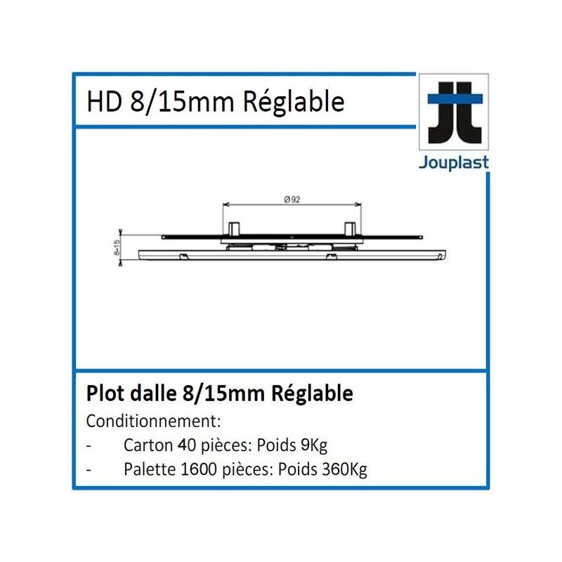 Plot DH08 hauteur réglable de 8 à 15 mm pour dalle