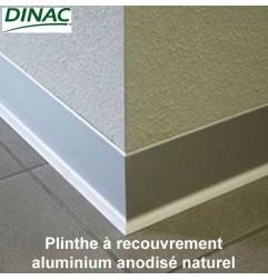 Plinthe aluminium anodisé naturel adhésive 80 mm
