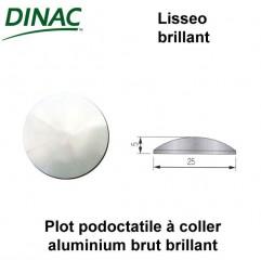 Plots podotactiles Lisseo brillant aluminium Ø 25 mm à coller