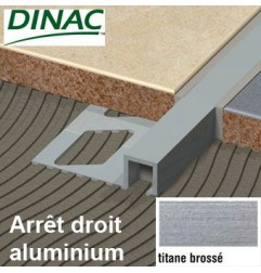 Arrêt droit aluminium anodisé titane brossé 12.5 mm